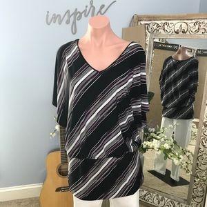 WHBM Blouson Bias Striped Tunic Size Medium